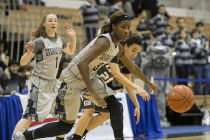 CLAIRE SOISSON/THE HOYA Junior forward Dominique Vitalis scored eight points on Wednesday. She leads the team in scoring with 15.3 points per game.