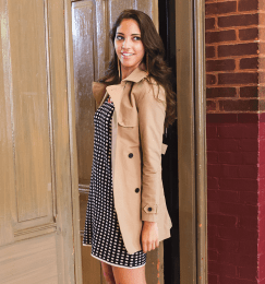 On Jenika: Missoni dress from Ella-Rue, trench coat from Jack Wills (Michelle Xu/The Hoya)