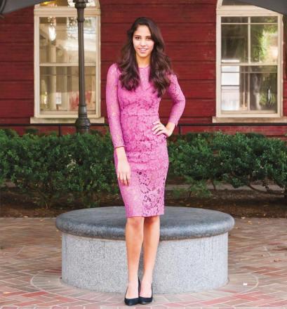 On Jenika: Alexis lace dress ($655) from Ella-Rue (Michelle Xu/The Hoya)