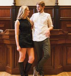 On Katherine: Jil Sander dress ($399) from Ella-Rue On Johan: American Apparel shirt ($18.50) from Bufffalo Exchange, Cashmoor skinny jeans in moss ($89.50) from Jack Wills (Michelle Xu/The Hoya)