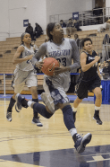 JULIA HENNRIKUS / THE HOYA Junior forward Brittany Horne readied for a layup in a 69-61 win against Providence