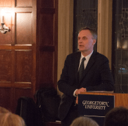 """ISABEL BINAMIRA / THE HOYA Dr. Richard Horton, Editor-in-Chief of """"The Lancet"""" delivered the annual STIA Maloy Lecture in Copley Formal."""