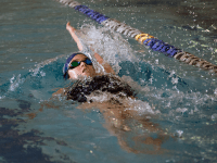 NATE MOULTON/THE HOYA Freshman Ryan Murphy rounded out a sweep of the top three spots of the 200-yard backstroke race Saturday in McCarthy Pool.