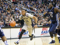 JULIA HENNRIKUS/THE HOYA Senior guard Jabril Trawick provided another energy boost for the Hoyas, adding  10 points and four steals to Georgetown's win over Villanova.