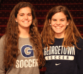 CLAIRE SOISSON/THE HOYA Freshman Rachel Corboz (left) and her sister senior Daphne Corboz will go from competing together on the Hilltop to training for the U.S. national team.