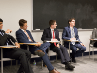 ALEXANDER BROWN/THE HOYA The five vice presidential candidates sit poised for the debate to begin.
