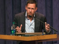 ISABEL BINAMIRA/THE HOYA Venture capitalist Peter Thiel delivered a lecture in the ICC Auditorium on Tuesday.