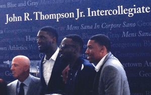 COURTESY ANDREW MINKOVITZ From right to left, former Georgetown basketball players Otto Porter Jr., Jeff Green and Roy Hibbert, along with sports agent David Falk, attended the groundbreaking for the Thompson Athletic Center.