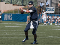 FILE PHOTO: ISABEL BINAMIRA/THE HOYA Senior quarterback Kyle Nolan threw for 264 yards and two touchdowns in the Hoyas' 24-16 win over the Lions. Nolan also ran for 41 yards and another touchdown in the victory.