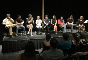 """COURTESY MICHAEL REDMAN """"Pandemopium,"""" a play written by Connor Rohan (COL '16), third from left, made its debut at the Kennedy Center Monday, Sept. 7, as part of the 14th annual Page-to-Stage Festival. The play explores the life of an Afghan poppy farmer, played by Adly Alec Abdel-Meguid (COL '17)."""