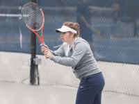 FILE PHOTO: ALEXANDER BROWN/THE HOYA Junior captain Victoire Saperstein was an All-Big East selection in her sophomore season, going 11-3 in singles, including a five-match win streak, during the 2014 spring season.