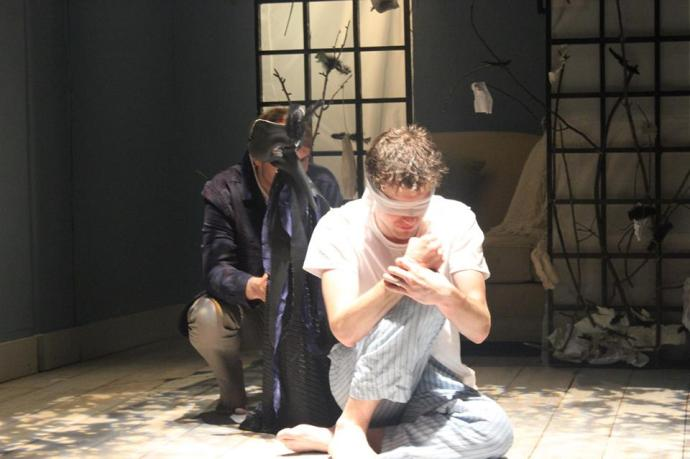 Thomas Shuman (COL'17) in 'afterlife: a ghost story,' Nomadic Theater's Fall Show