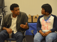 KATHLEEN GUAN/THE HOYA Truth Telling Project Co-Directors David Ragland and Cori Bush held a discussion on police brutality and institutional racism as part of their nationwide initiative to spark dialogue after the Ferguson protests in the Healey Family Student Center last Friday morning.