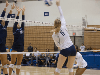 FILE PHOTO: SOPHIE FAABORG-ANDERSEN/THE HOYA Freshman Liv King has recorded the second-most kills for the Hoyas with 210 on the season, with an average of 2.53 kills per set. She also has the second most overall points on the team with 233.5.