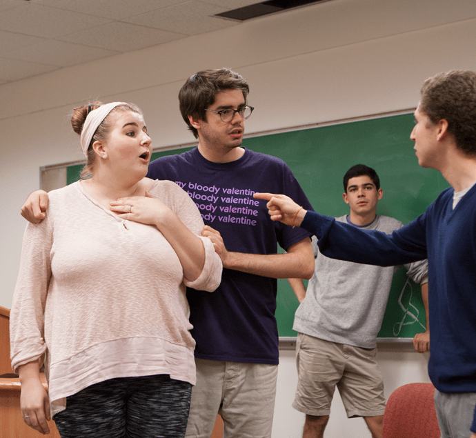 RACHEL SKAAR FOR THE HOYA  Rachel SKAAR FOR The Hoya From left to right, Megan Howell (COL '18), Connor Rohan (COL '16), Gabe Bolio (SFS '18) and Marcus Lustig (COL '19) of the Georgetown Improv Association