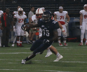 FILE PHOTO: ISABEL BINAMIRA/THE HOYA Senior running back Jo'el Kimpela rushed for a season-high 142 yards and one touchdown on 18 carries in Georgetown's win over Bucknell.