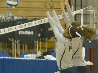FILE PHOTO: STANLEY DAI/THE HOYA Freshman middle blocker Symone Speech (left) leads the Hoyas in blocks with 67. She has recorded the second most points on the team with 260.