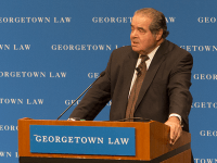 CAROLINE KENNEALLY FOR THE HOYA Supreme Court Justice Antonin Scalia (CAS '57) delivered a guest lecture for 360 first-year law students in the Hart Auditorium at the Georgetown University Law Center's McDonough Hall on Monday. He discussed his career, infamous dissents and originalist viewpoints.