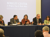 DAN GANNON/THE HOYA The Berkeley Center for Religion, Peace and World Affairs hosted five representatives from national faith-based organizations in a panel discussion on climate change at the Healey Family Student Center on Monday.