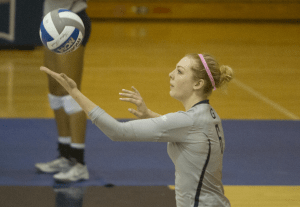 STANLEY DAI/THE HOYA Freshman outside hitter Liv King has recorded 246 kills on the season, averaging 2.51 kills per set. King recorded her first career double double in Georgetown's 3-2 win over Seton Hall on Oct. 30.