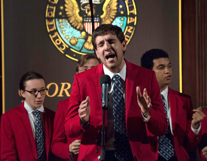 JINWOO CHONG/THE HOYA The Columbia Kingsmen, Columbia University's oldest all-male a cappella group, perform at the first weekend of the D.C. A Cappella Festival, hosted by the Phantoms and the Gracenotes.
