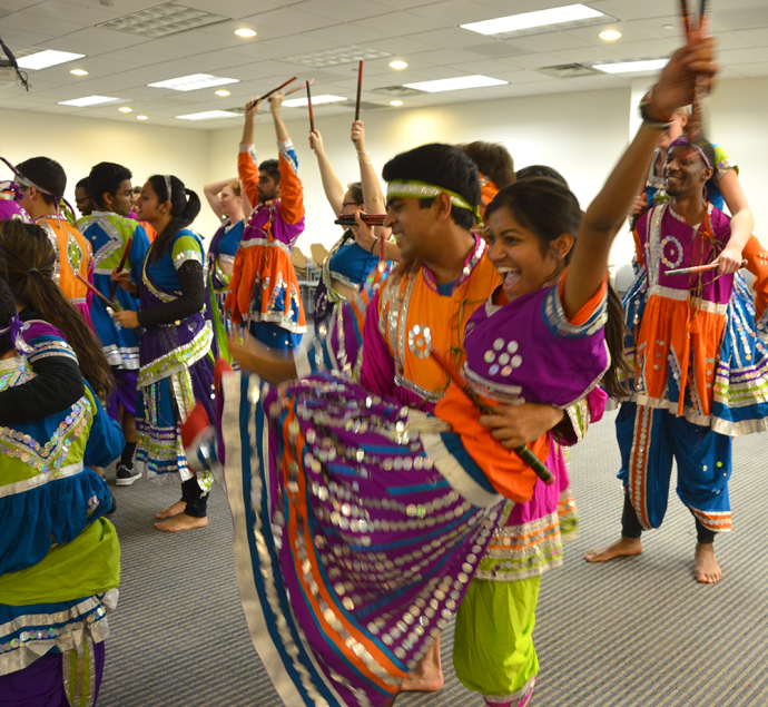 KATHLEEN GUAN/THE HOYA Dancers from the Rangila Raas group practice in the run-up to the show. Proceeds from Rangila 2015: Are You Game? will go toward the Pritam Spiritual Foundation, a nonprofit in Kashmir, India that provides medical attention to victims of land mines.