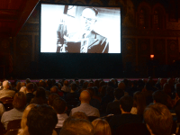 """KATHLEEN GUAN/THE HOYA  Gaston Hall hosted a screening of """"Free to Rock"""" this Tuesday, featuring a panel discussion on how rock 'n' roll shaped the Cold War-era USSR."""