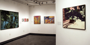 CAROLINE KENNEALLY/THE HOYA Fourteen paintings by 20th century American abstract artist Ralph Wickiser, including his symbolic depictions of natural scenes and landscapes, are on display in the Spagnuolo Art Gallery in the Edmund A. Walsh Building from Jan. 20 to April 3.