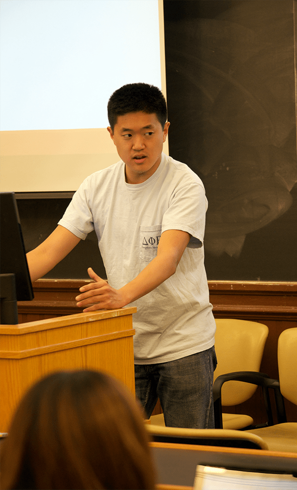 LAUREN SEIBEL/THE HOYA Michael Li (SFS '17) spoke to students Tuesday about volunteering for Moneythink, a national nonprofit organization.