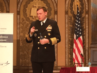 MARINA PITOFSKY/THE HOYA NSA Director Admiral Michael S. Rogers addressed the issues of cyberattacks in an address at the sixth annual International Conference on Cyber Engagement on Tuesday.