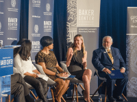 JOHN CURRAN/THE HOYA Panelists discussed the launch of the GU Politics' Baker Center, which hopes to stimulate policy dialogue, at an event in the Fisher Colloquium on Tuesday.