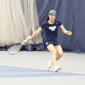 STEPHANIE YUAN/THE HOYA Freshman Risa Nakagawa boasts a 9-2 singles record on the year and most recently defeated Seton Hall freshman Anicka Fajnorova in a 2-6, 6-3, 6-1 three-set battle on March 24.