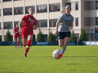 File Photo: eliza mineaux/THE HOYA Senior forward Grace Damaska scored two goals in the win against Colorado College. Damaska has scored five goals in the last two games and is second on the team in points with 12 and first on the team in goals with six.
