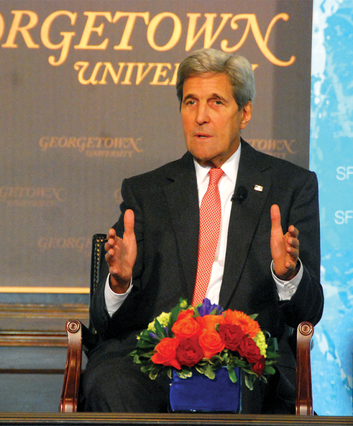 """JESUS RODRIGUEZ/THE HOYA Secretary of State John Kerry spoke on the need for increased oversight of the world's oceans and a panel of international advocates addressed global regulations in the """"Our Ocean, One Future Leadership Summit."""""""