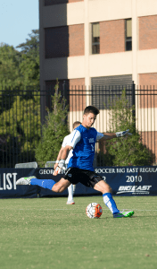 FILE PHOTO: NATE MOULTON/THE HOYA Sophomore goalkeeper JT Marcinkowski posted his second clean sheet of the season in Saturday's win.