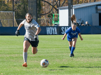 FILE PHOTO: ROBERT CORTES/THE HOYA Sophomore forward Amanda Carolan scored the lone and eventual game-winning goal in Thursday's win. It was her second goal of the season. She has also recorded two assists and is top-five in the team in points.