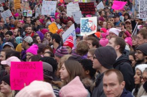 JEFF CIRILLO/THE HOYA The Women's March on Washington drew hundreds of thousands of protesters to the nation's capital the day after President Donald Trump's inauguration.