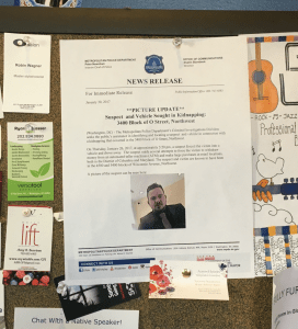 ALY PACHTER/THE HOYA Posters with photographs of the suspect involved in the kidnapping of a Georgetown University student were displayed at Saxby's coffee shop. The suspect was arrested in Seattle, Wash., more than a month after the kidnapping occurred.