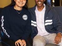 FILE PHOTO: ANNA KOVACEVICH/THE HOYA GUSA Vice President-elect Jessica Andino (COL '18), left, and President-elect Kamar Mack (COL '19) were elected Feb. 23 with the narrowest election margin in recent history of 34 votes.