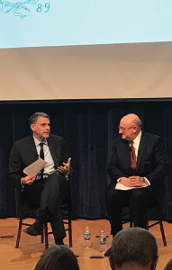 BEN GOODMAN/THE HOYA Center for Jewish Civilization Director Jacques Berlinerblau, left, moderated a talk with United States Special Envoy to Monitor and Combat Anti-Semitism Ira N. Forman.
