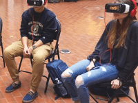 COURTESY MARC HOWARD Students are able to take part in the interactive exhibit and experience a simulated version of solitary confinement through virtual reality goggles in the ICC.