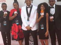 MANDRELL BIRKS/TWITTER Four Students from Eliot-Hine Middle School in Washington, D.C., travelled to Pasadena, Calif., with their school radio adviser, Mandrell Birks, to cover the 49th annual NAACP Image Awards.
