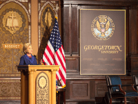 ANNA KOVACEVICH/THE HOYA Former Secretary of State Hillary Clinton was the keynote speaker at  this year's Hillary Rodham Clinton Awards for Advancing Women in Peace and Security ceremony in Gaston Hall on Monday.