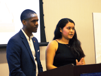 SHEEL PATEL FOR THE HOYA Georgetown University Student Assosciation President, Kamar Mack (COL '19), left, and Vice President, Jessica Andino (COL '18) reflect during their first State of the Campus Address.