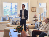 COURTESY JACK LYNCH Georgetown undergraduate Will Haskell (COL '18) campaigned door-to-door over spring break after launching his bid for the Connecticut state Senate.