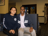 ANNA KOVACEVICH/THE HOYA Former Georgetown University Student Association President Kamar Mack (COL '19) and Vice President Jessica Andino (COL '18) discussed their time in office.
