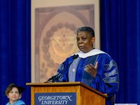 GEORGETOWN UNIVERSITY Former Xerox Chairman and CEO Ursula Burns urged McDonough School of Business graduates to use their Georgetown degrees for the good of others in her Saturday commencement address.