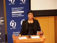 SPENCER COOK/THE HOYA Mayor Muriel Bowser (D) won the Democratic bid for D.C. mayor, and is expected to win re-election in November as no Republican candidate has emerged.