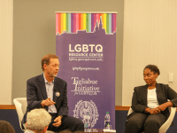 DENNIS KIM FOR THE HOYA Former Georgetown University Senior Vice President of Development Dan Porterfield (COL '83) (left) and Provost's distinguished Professor of History and African-American Studies Marcia Chatelain (right) discussed student involvement in the creation and expansion of the LGBTQ resource center at an event honoring the center's 10th anniversary Oct. 15.