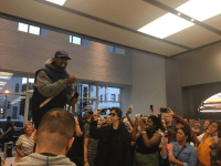 AMEENERR TWITTER Rapper Kanye West delivered an impromptu speech at the Georgetown Apple Store after a White House meeting with President Donald Trump Oct. 11.